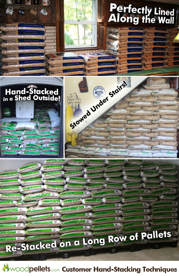 How to safely hand stack wood pellet bags in a limited