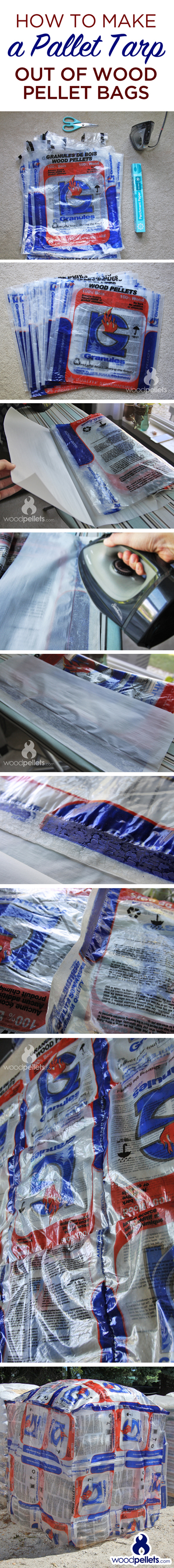 How to Make a Pallet Tarp from Empty Wood Pellet Bags