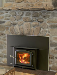 Kuma aspen wood insert as a fireplace insert or a free standing stove