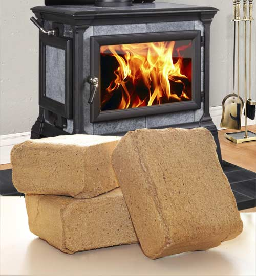 Wood bricks (also known as compressed wood bricks) give you the same cozy  heat and cheerful ambiance from your wood stove – with a green bonus! - Wood Bricks - Better Than Cordwood