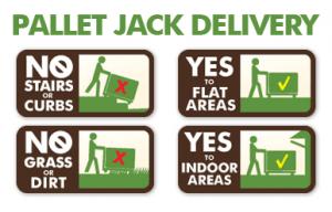 Pallet jack wood pellet wood brick delivery